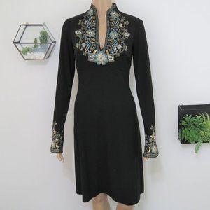 Cache Black Embellished Long Sleeve Dress XS
